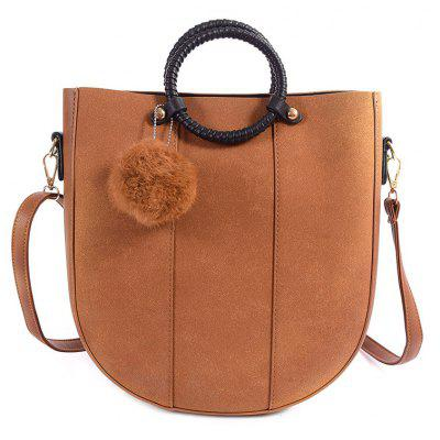 PU Leather Pompon Metal Tote Bag