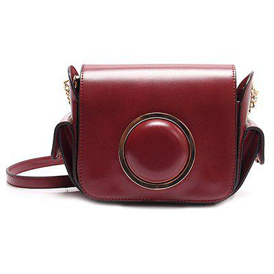 Chain Metal Ring Camera Shape Crossbody Bag