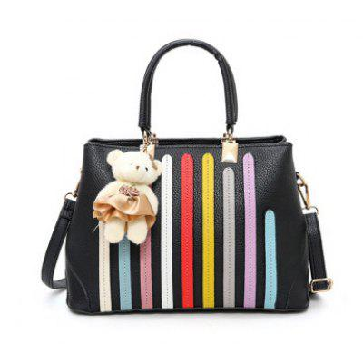 Colour Spliced Striped Pattern Metal Tote Bag