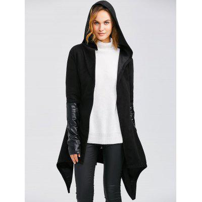 Leather Panel Self-Tie Wrap Coat