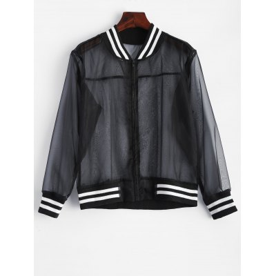 Mesh Sheer Baseball Jacket