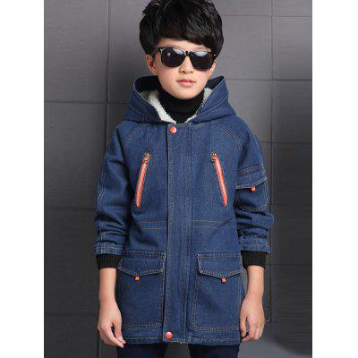 Boys Hooded Oversized Denim Coat