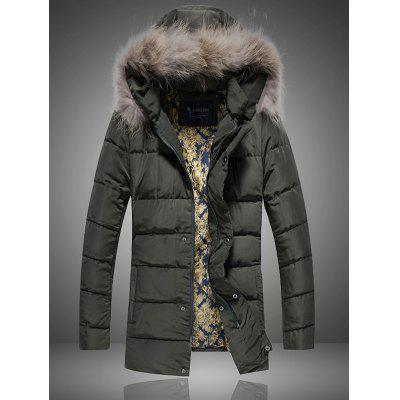 Plus Size Detachable Furry Hood Zip Up Down Coat