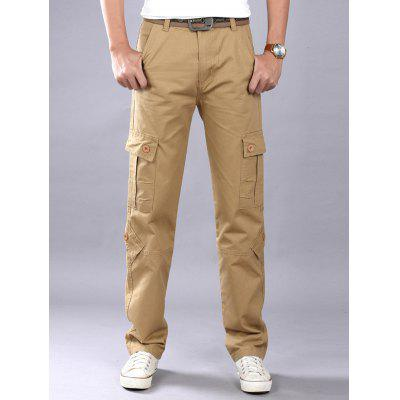 Multi Flap Pockets Straight Leg Cargo Pants