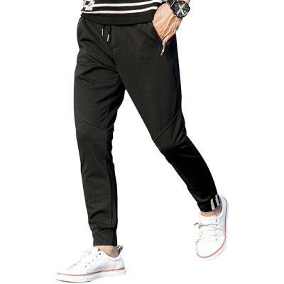 Zip Pocket Mid Rise Drawstring Jogger Pants