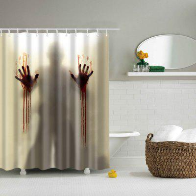 Scary Shadow Polyester Waterproof Bath Decor Shower Curtain