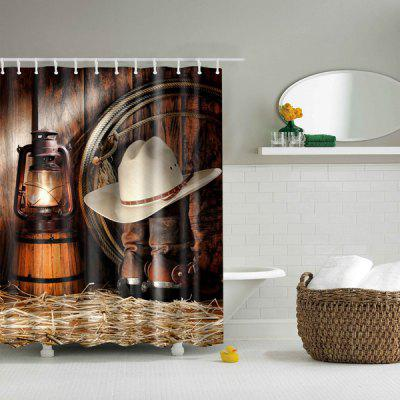 Vintage Polyester Waterproof Bath Decor Shower Curtain