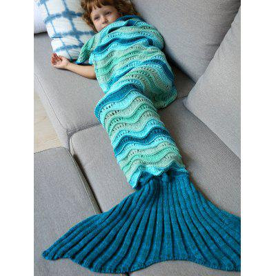 Buy COLORMIX Knitted Open Work Color Splicing Mermaid Blanket and Throws For Kid for $18.08 in GearBest store