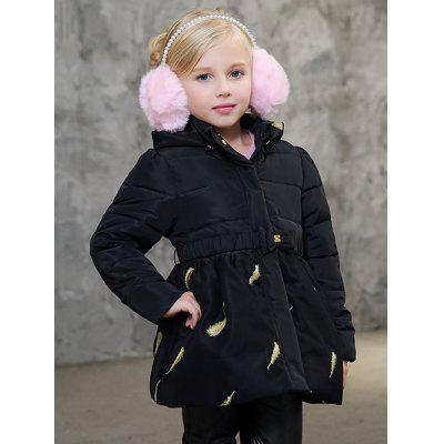 Girls Hooded Leaves Print Puffer Jacket