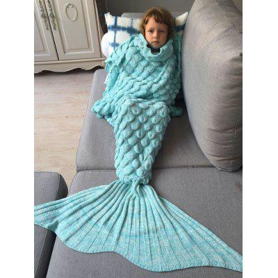Buy AZURE Knitted Fish Scales Design Wrap Mermaid Blanket and Throws For Kids for $12.87 in GearBest store