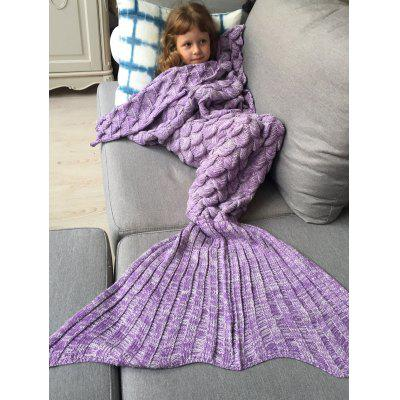 Buy Knitted Fish Scales Design Wrap Mermaid Blanket and Throws For Kids PURPLE for $22.35 in GearBest store