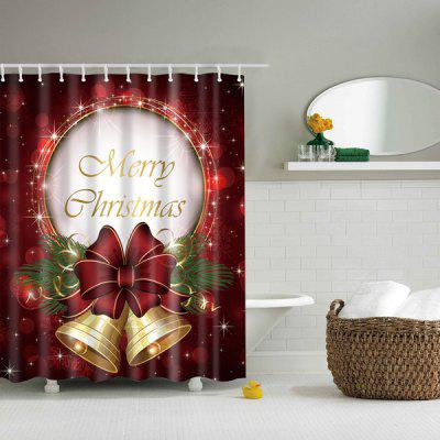 Christmas Bell Polyester Waterproof Bath Decor Shower Curtain