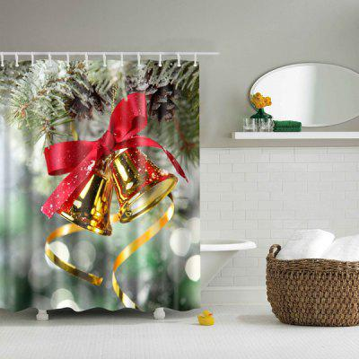 Bell Polyester Waterproof Bath Decor Christmas Shower Curtain