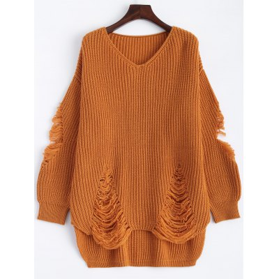 Pullover Ripped V Neck Sweater