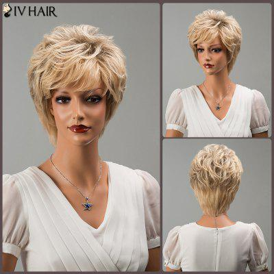 Buy COLORMIX Siv Short Colormix Layered Oblique Bang Wavy Human Hair Wig for $58.49 in GearBest store