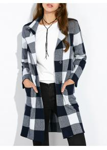 Pocket Plaid Woolen Coat