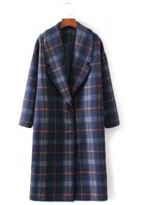 Plaid Single Breasted Wool Coat