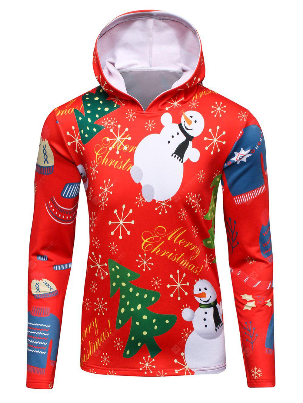 3D Christmas Tree and Snowman Print Flocking Hoodie