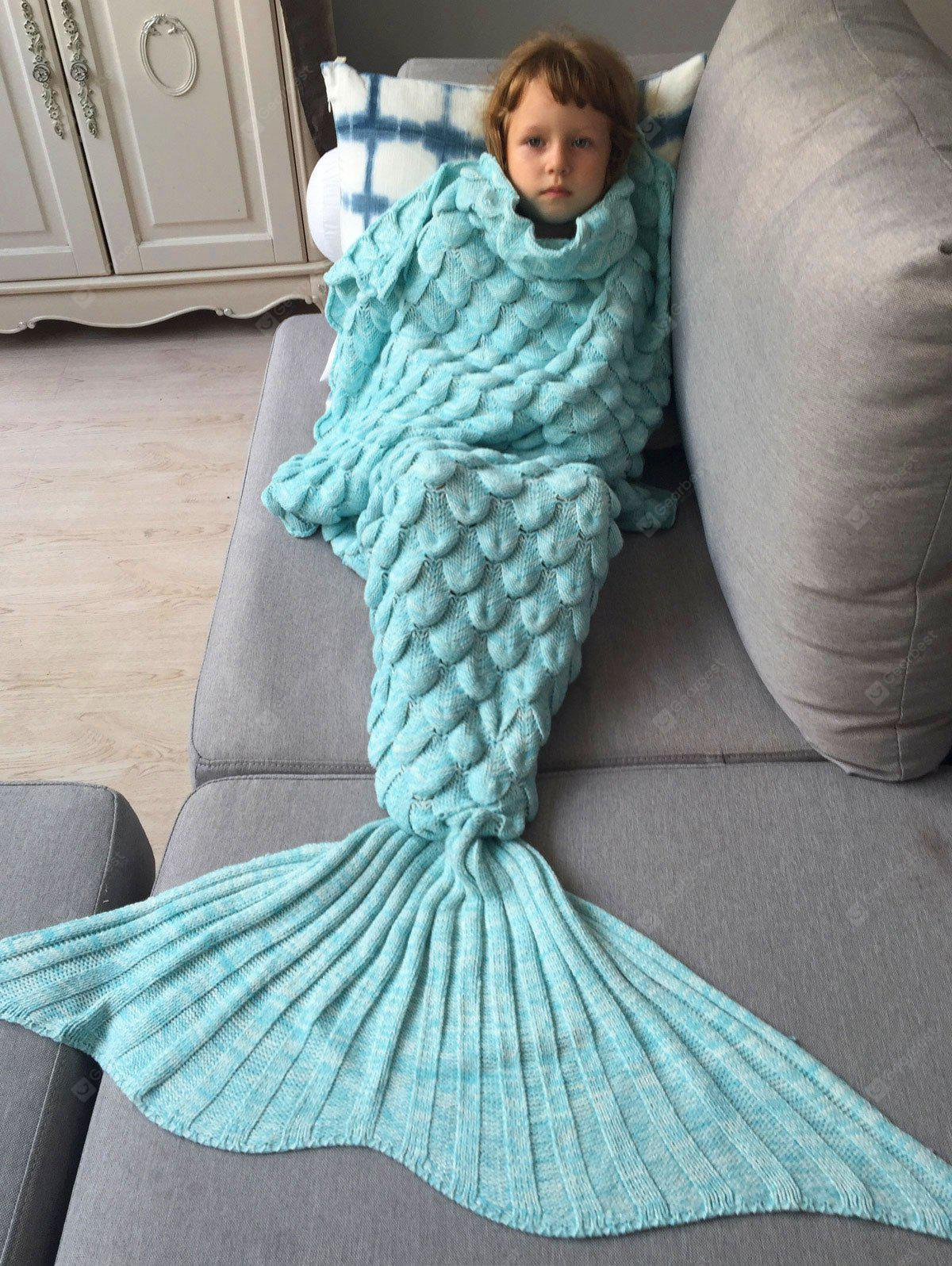 AZURE Knitted Fish Scales Design Wrap Mermaid Blanket and Throws For Kids