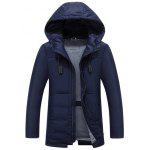 Hooded Drawstring Design Zip Up Down Jacket