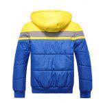 Hooded Color Block Spliced Zip Up Thicken Padded Jacket - YELLOW