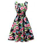 Floral Print Sleeveless Retro Style Dress - BLACK