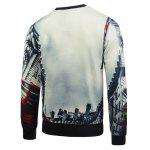 cheap Crew Neck Flocking 3D Graphic Print Sweatshirt