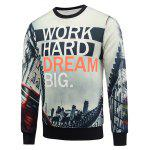 Crew Neck Flocking 3D Graphic Print Sweatshirt