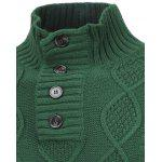 Fisherman Knitted Stand Collar Button Pullover Sweater - GREEN