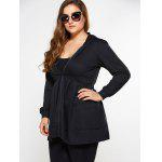 Zip Up Skirted Plus Size Hoodie - PRETO