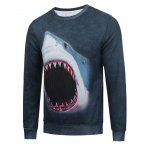 Crew Neck Flocking 3D Shark Print Sweatshirt - DEEP GRAY