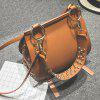 Metal Ring Rivets PU Leather Crossbody Bag - LIGHT BROWN