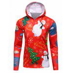 3D Christmas Tree and Snowman Print Flocking Hoodie - RED