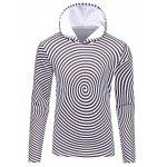 3D Spiral Stripe Print Flocking Black and White Hoodie men - WHITE AND BLACK