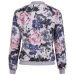 Floral Print Lace Insert Spring Jacket - WHITE