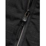 Hooded Applique Thicken Zip Up Jacket - BLACK