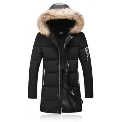 Col en fausse fourrure à capuchon Épaissir Zip Up Down Coat