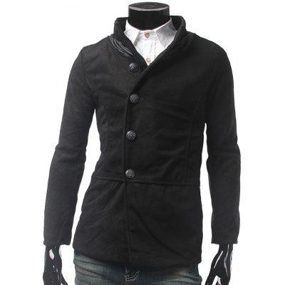 PU Leather Panel Pocket Single Breasted Woolen Coat