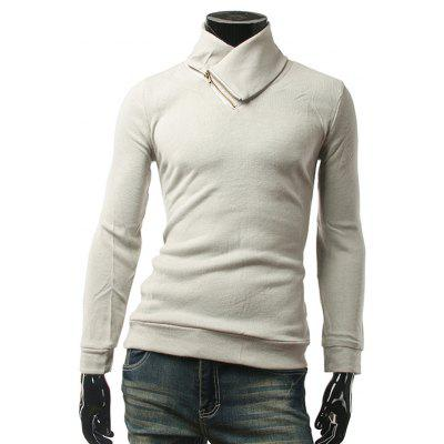Long Sleeve Zippered Plain Pullover Knitwear