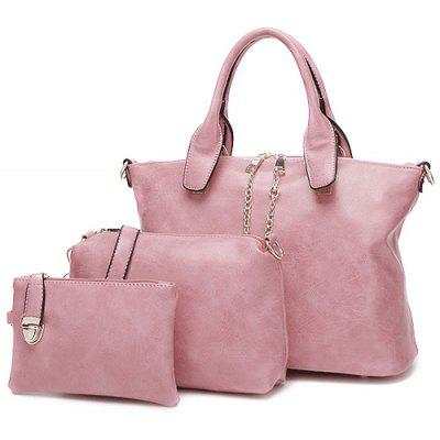 PU Leather Metal Chains Handbag