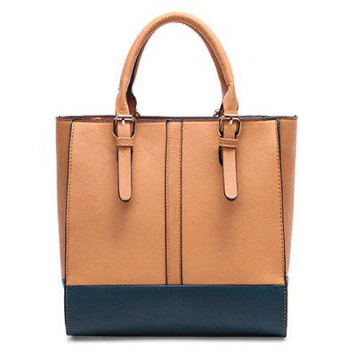 Buckle Straps Color Splice Handbag