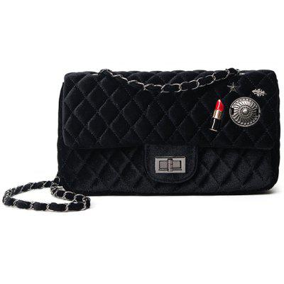 Chain Argyle Pattern Metal Shoulder Bag