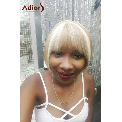 Adiors Short Neat Bang Highlight Straight Bob Synthetic Wig