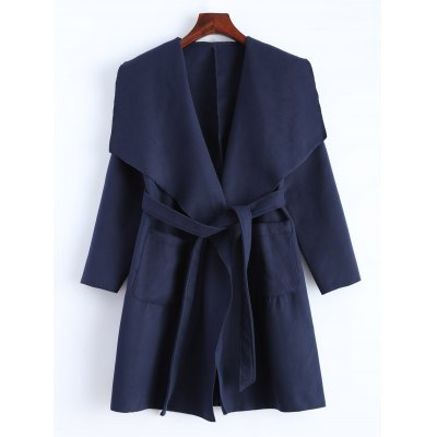 Woolen Wrap Coat With Pockets
