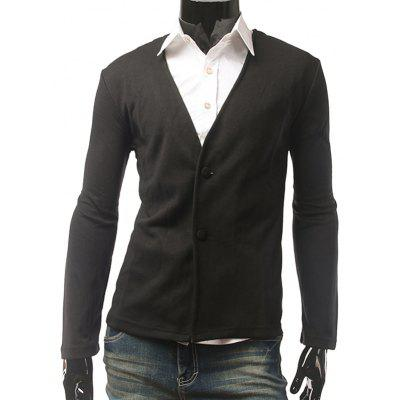 Buy BLACK Slim Fit V Neck Button Cardigan for $15.83 in GearBest store