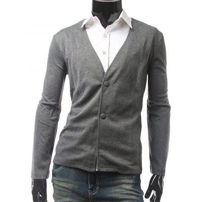 Buy GRAY Slim Fit V Neck Button Cardigan for $15.83 in GearBest store