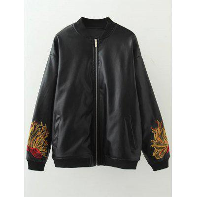 Plus Size Embroidered PU Leather Bomber Jacket