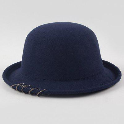 Concise Five Alloy Hoops Felt Bowler Hat