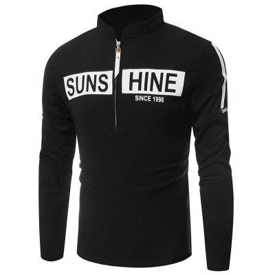 Stand Collar Half Zip Up Graphic T-Shirt