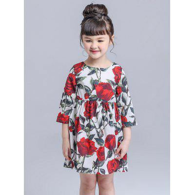 Kids Floral Print Mini Flare Dress